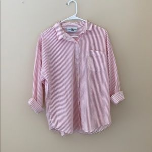 Tops - Pink and White Striped Button-Up